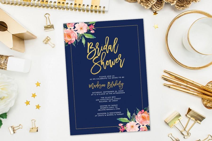 زفاف - Printable Bridal Shower Invitation, Bridal Shower Invites, Navy Bridal Shower Invitations, Floral Shower Invite