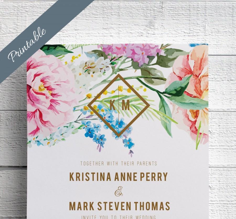 زفاف - Spring Wedding Invitations Printable Garden Wedding Invitations Floral Wedding Invitations
