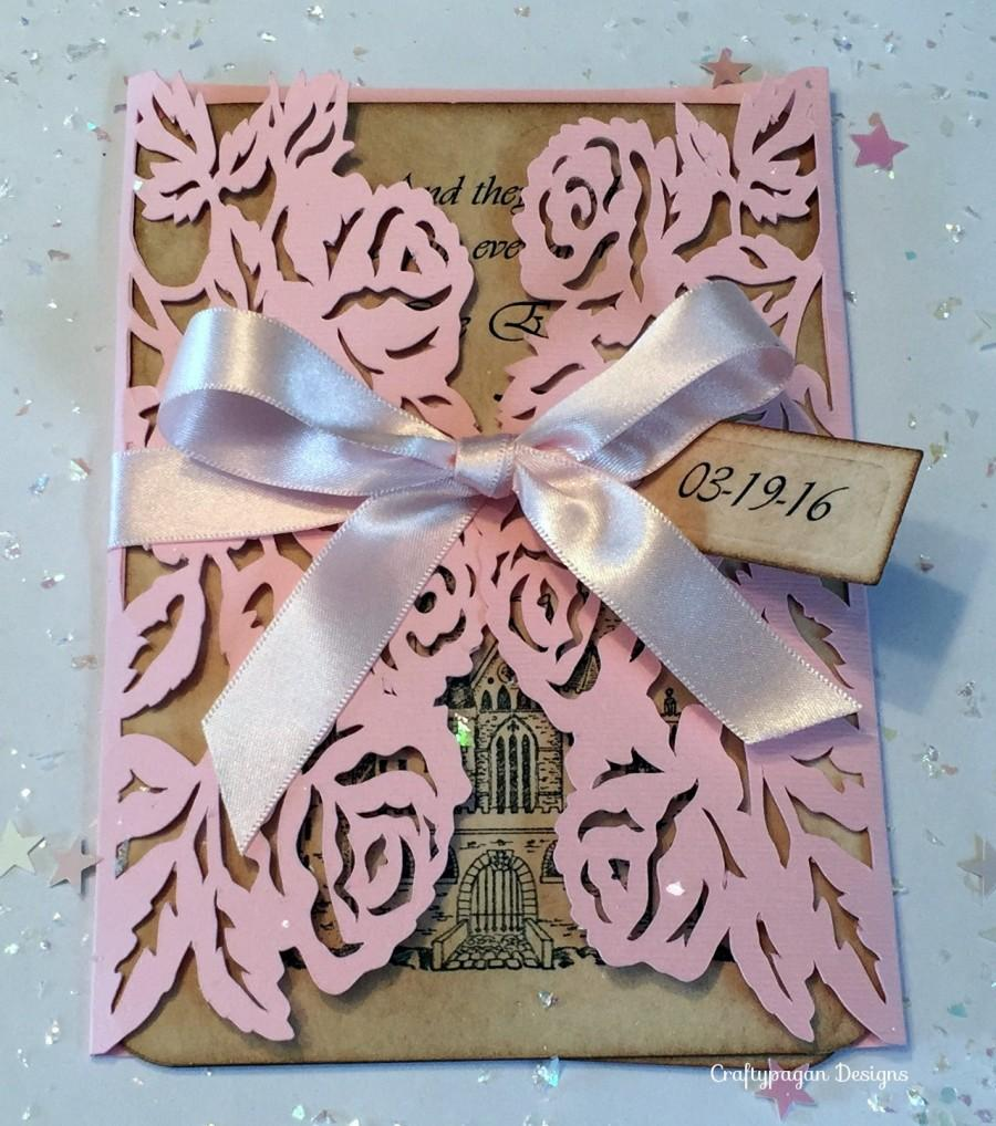 30 Fairytale Wedding Invitation Suite With Rose Wrap, RSVPs, Colour  Choices/ Personalized Wedding Invites Once Upon A Time With Rose Cut Out