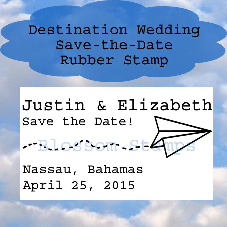 Wedding - Destination Wedding Paper Airplane Save the Date Rubber Stamp -  Handmade by Blossom Stamps