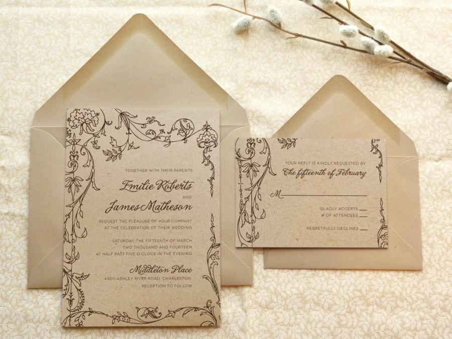 Свадьба - Fairy tale Romance Kraft Garden Wedding Invitations - Flower Wedding - Botanical Wedding - Spring Wedding - Fairy Tale Wedding