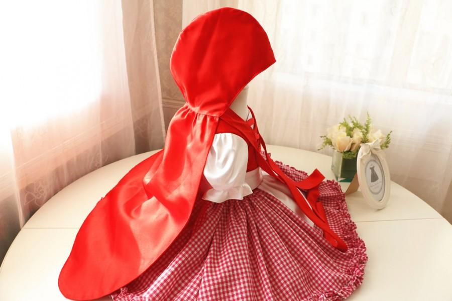 زفاف - Little Red Riding Hood Halloween Costume Dress and Cape, Halloween Dress Toddler, Baby Girl Dress for Birthday Party, PD088-2