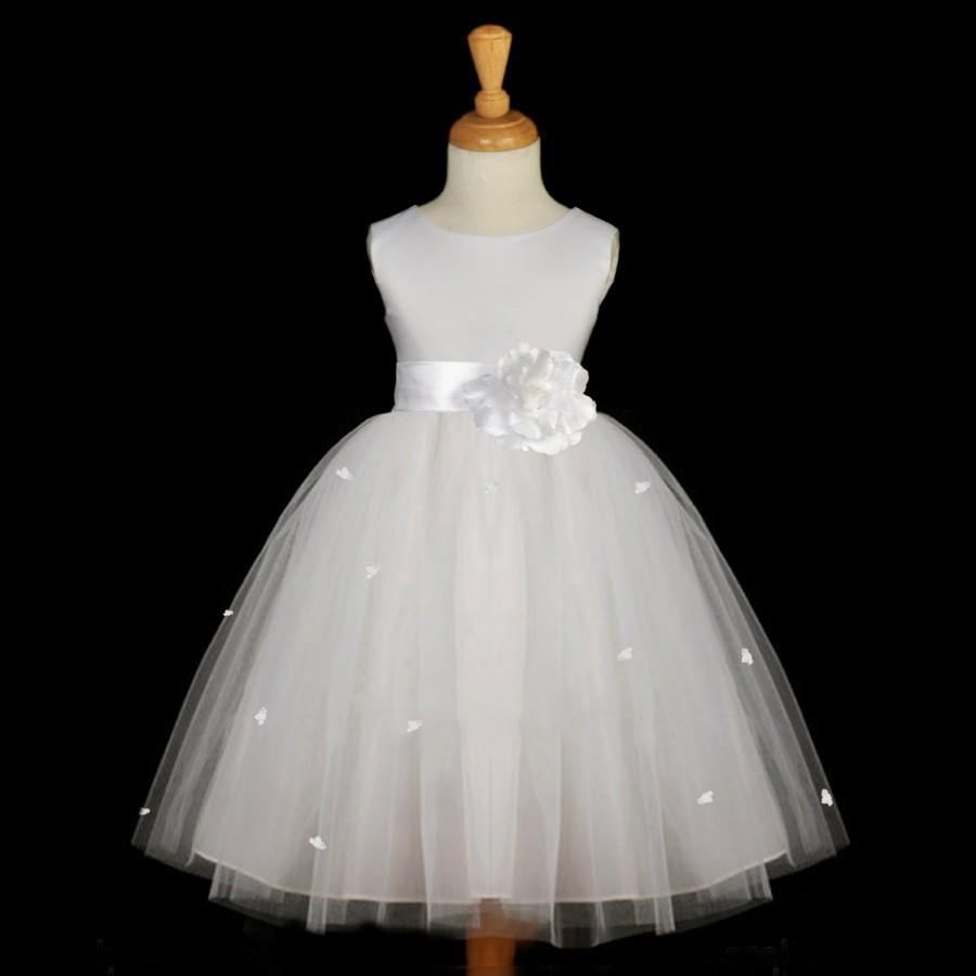 Wedding - White Rosebud Flower Girl dress sash pageant wedding bridal recital tulle bridesmaid toddler sizes 12-18m 2 4 6 8 10 12