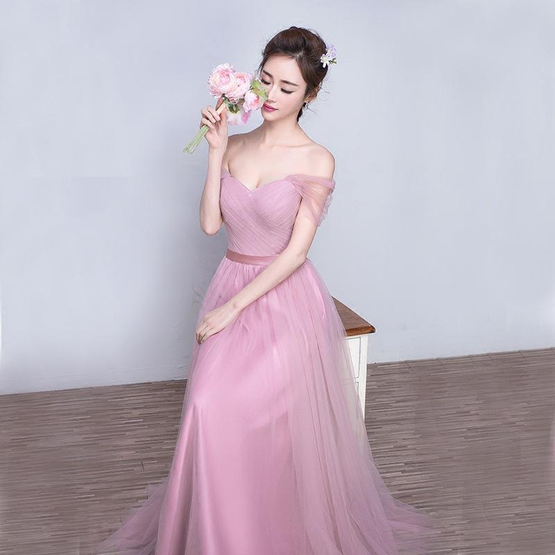 c46366c56ad3 2016 Beautiful Fashion Hot Sale Pink Purple Nude Grey Off The Shoulder Long  Party Evening Bridesmaid Dresses For Wedding