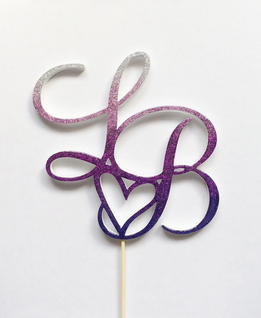 """Mariage - Ombre glitter 6"""" Monogram wedding cake topper, custom personalized two initial, heart cake topper, plum purple cake top-choose your color"""