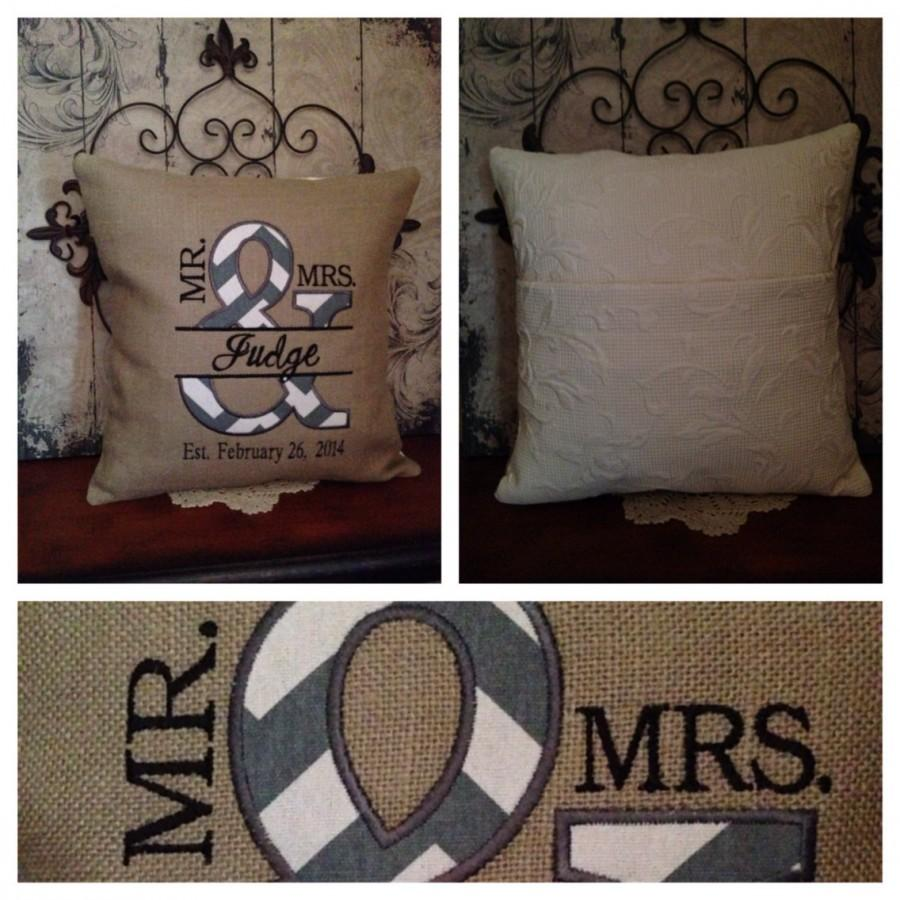 Wedding - Mr. & Mrs. Personalized Pillow - Machine Embroidered