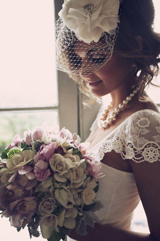 Mariage - Bridal Headpiece - Birdcage Veil - Detachable Silk Flower - Made To Order - Best Seller