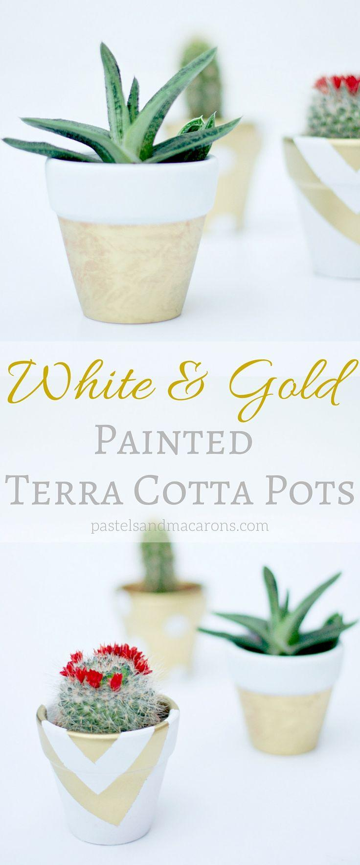 Mariage - White And Gold Painted Terra Cotta Pots