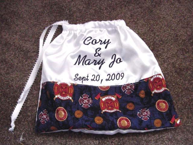 Свадьба - Firefighter Fireman Satin Drawstring Money Bag Bridal Wedding Dance Card Holder Bag Purse Personalized 11 inch