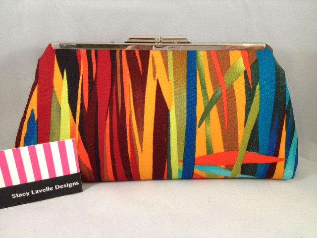 Mariage - Multi Color Cotton Clutch Purse with Nickel/Silver Finish Snap Close Frame