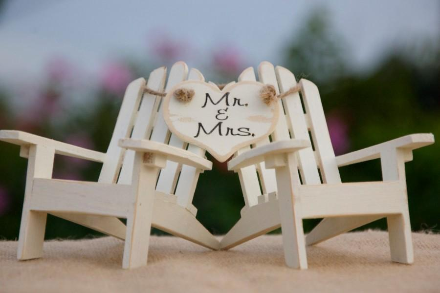 Exceptional Personalized Cake Topper Adirondack Chairs Beach Wedding Cottage  Wedding Shabby Chic   Mr. U0026 Mrs. Heart Banner Adirondack Chair Cake Toppers