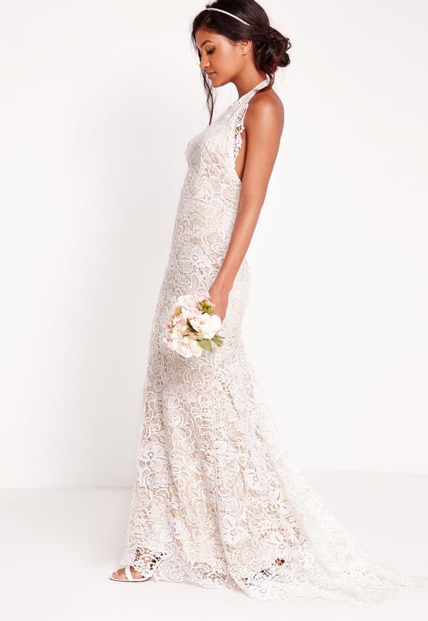 Mariage - Bridal Halter Neck Lace Maxi Dress White