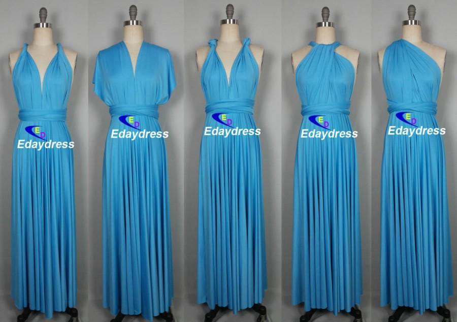 Maxi Full Length Bridesmaid Turquoise Blue Infinity Dress ...
