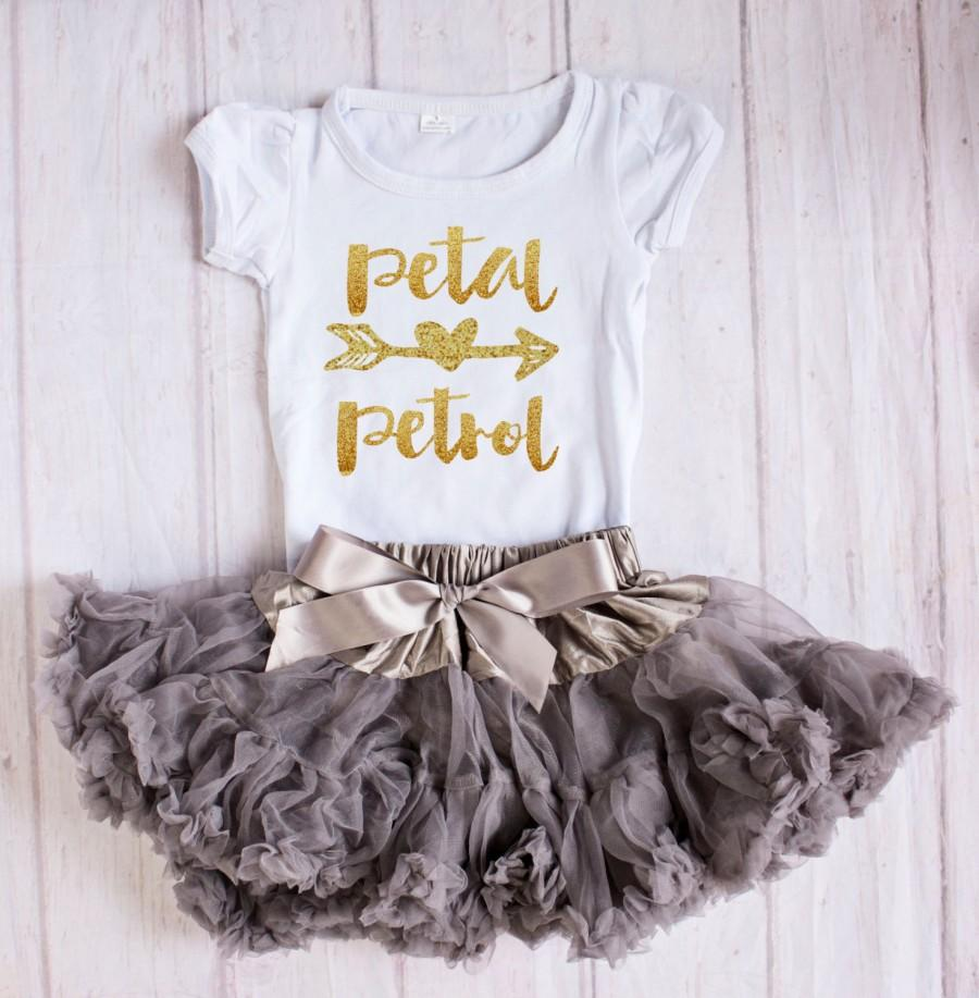 Wedding - Flower Girl Rehearal Outfit...Petal Patrol...Flower Girl Outfit / Rehearal Outfit / Flower Girl Gift, Flower Girl Top, Flower Girl top,