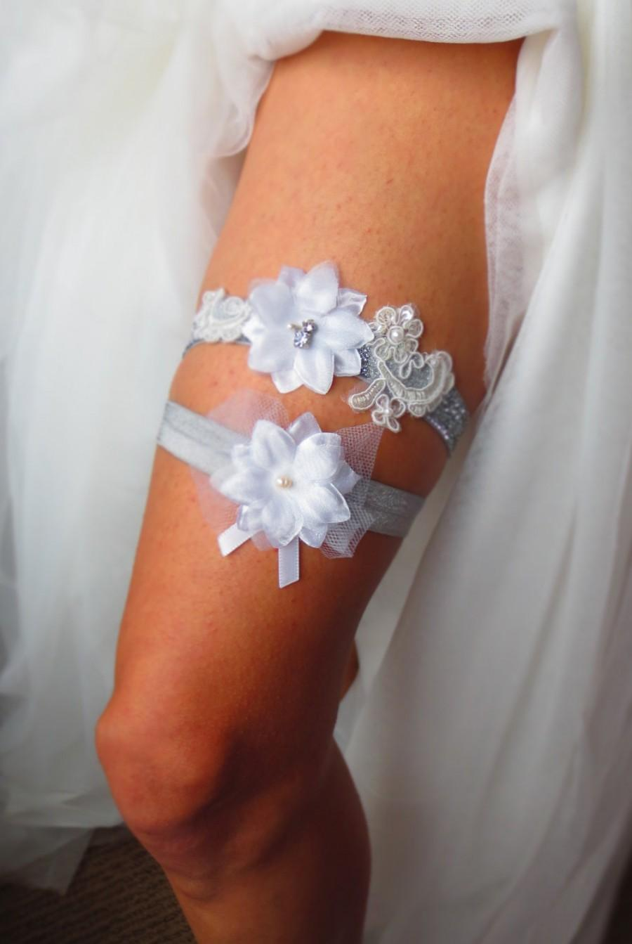 Wedding - Fireworks Wedding Garter Set- Silver floral lace keepsake Garter and Slate grey Toss-away Garter with rhinestone and pearl accents
