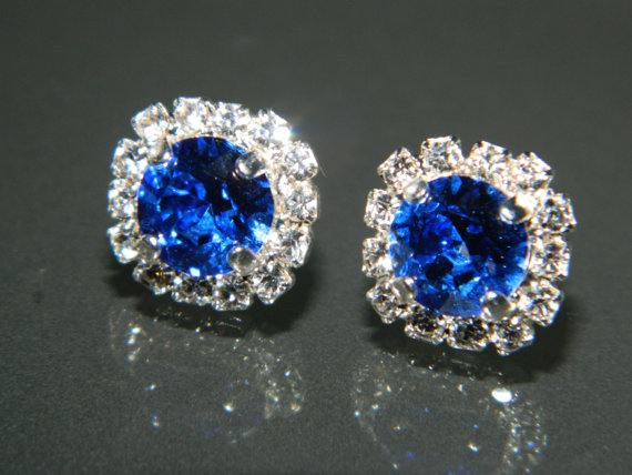 Shire Crystal Halo Earrings Swarovski 8mm Blue Rhinestone Hypoallergenic Earring Studs Royal Cobalt Silver Bridesmaids