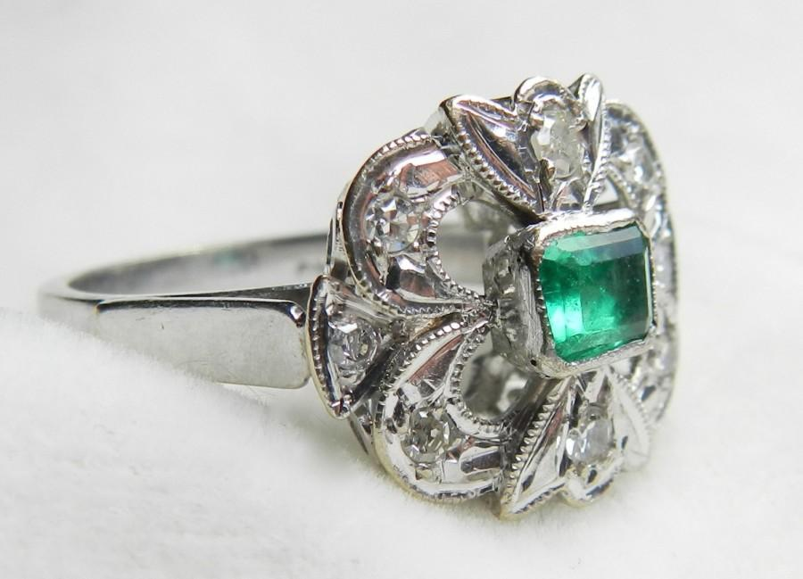 Emerald Ring 18K White Gold Emerald Ring Columbian Emerald Ring Unique Art De