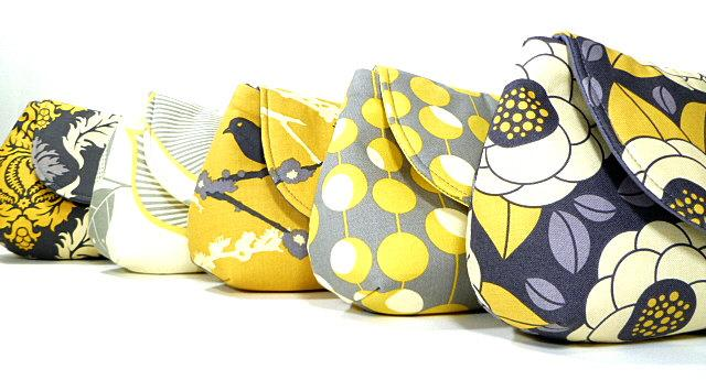 Mariage - Gray Yellow Bridesmaids Clutches Choose Your Fabric Set of 8