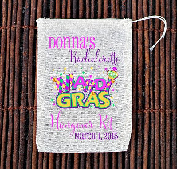 Mariage - Mardi Gras New Orleans Bachelorette Party Welcome Bag- Muslin Cotton Mini Favor Bags