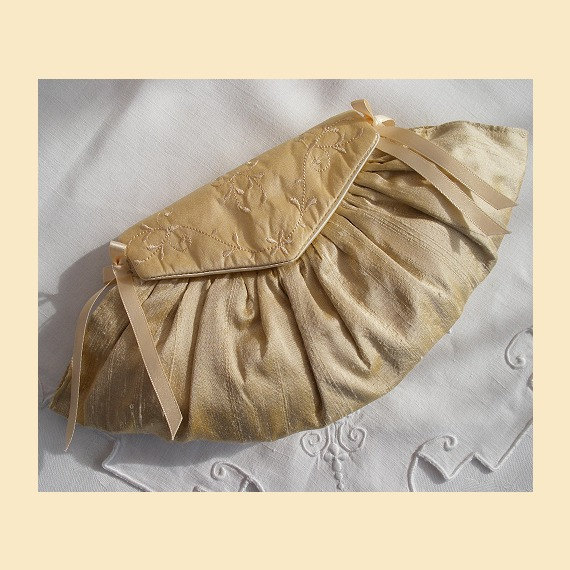 Mariage - wedding purse in silk with embroidered front flap, available in cream or blush with optional personalisation