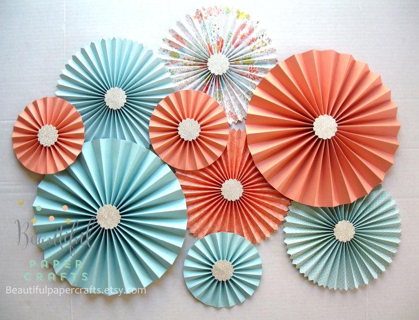 Mariage - 9 pc Aqua Light Coral Silver Rosettes, Paper Fans, Peach Wedding, Pinwheel Backdrop Decor/Paper Rosettes, Candy Buffet Decor