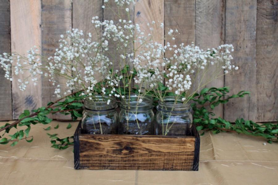 Wood Crate Centerpiece Wedding Centerpiece Wood Crate With Mason