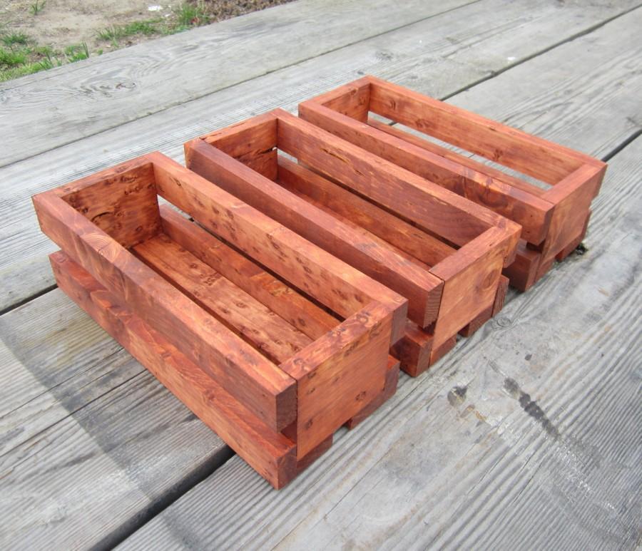زفاف - 3 Wood Crate Centerpieces - Country Wedding Decor Crates