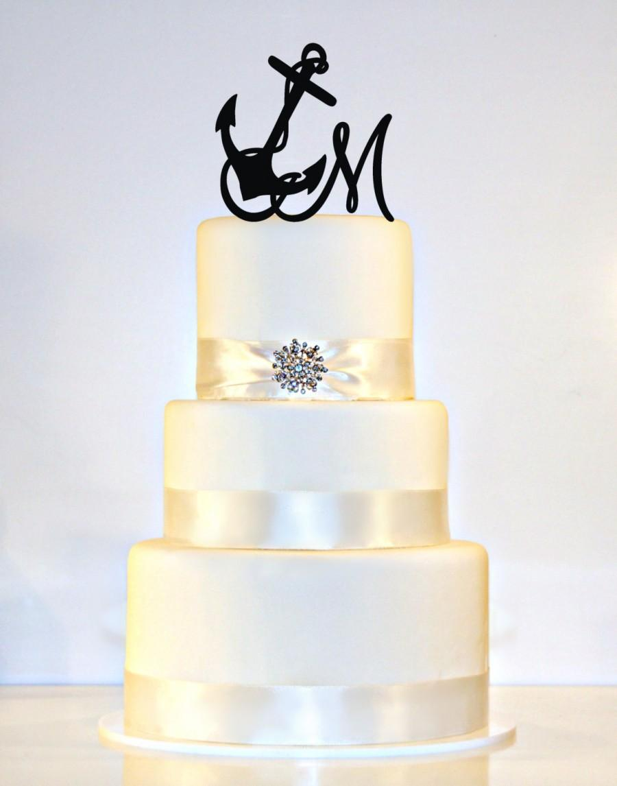 Anchor Wedding Cake Topper Monogram With Your Initial In ANY LETTER ...