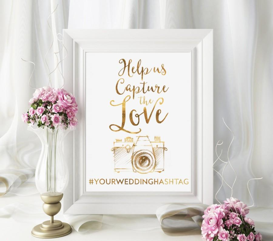 Mariage - Share the Love Sign, Hashtag Wedding Sign, Gold Wedding Sign, Chic Wedding Sign, Hashtag Wedding, Cute Wedding Print, Instagram Wedding