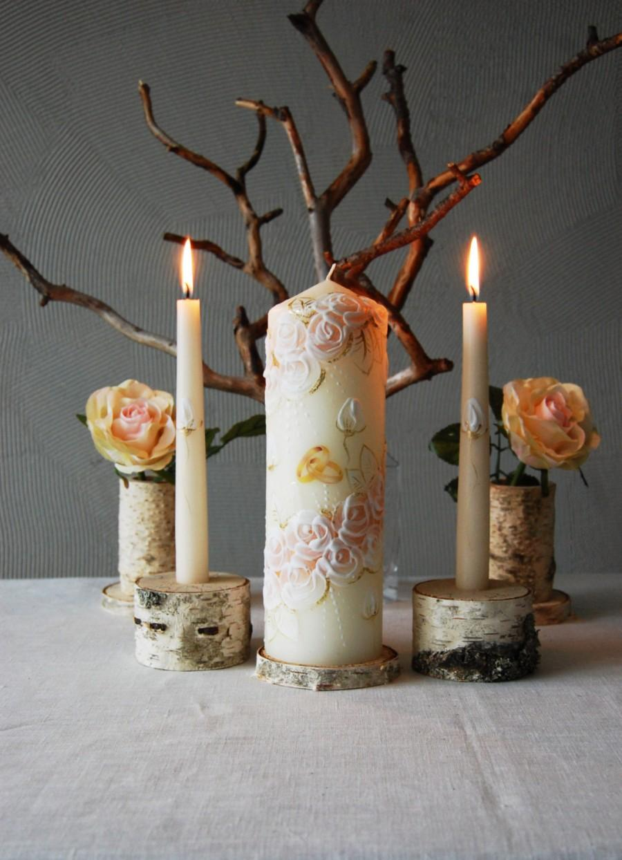 Mariage - Unity Candle Set, Handpainted Beige Candles With White Roses, Wedding Ceremony Candle Set, Champagne Unity Candles With White Painted Roses