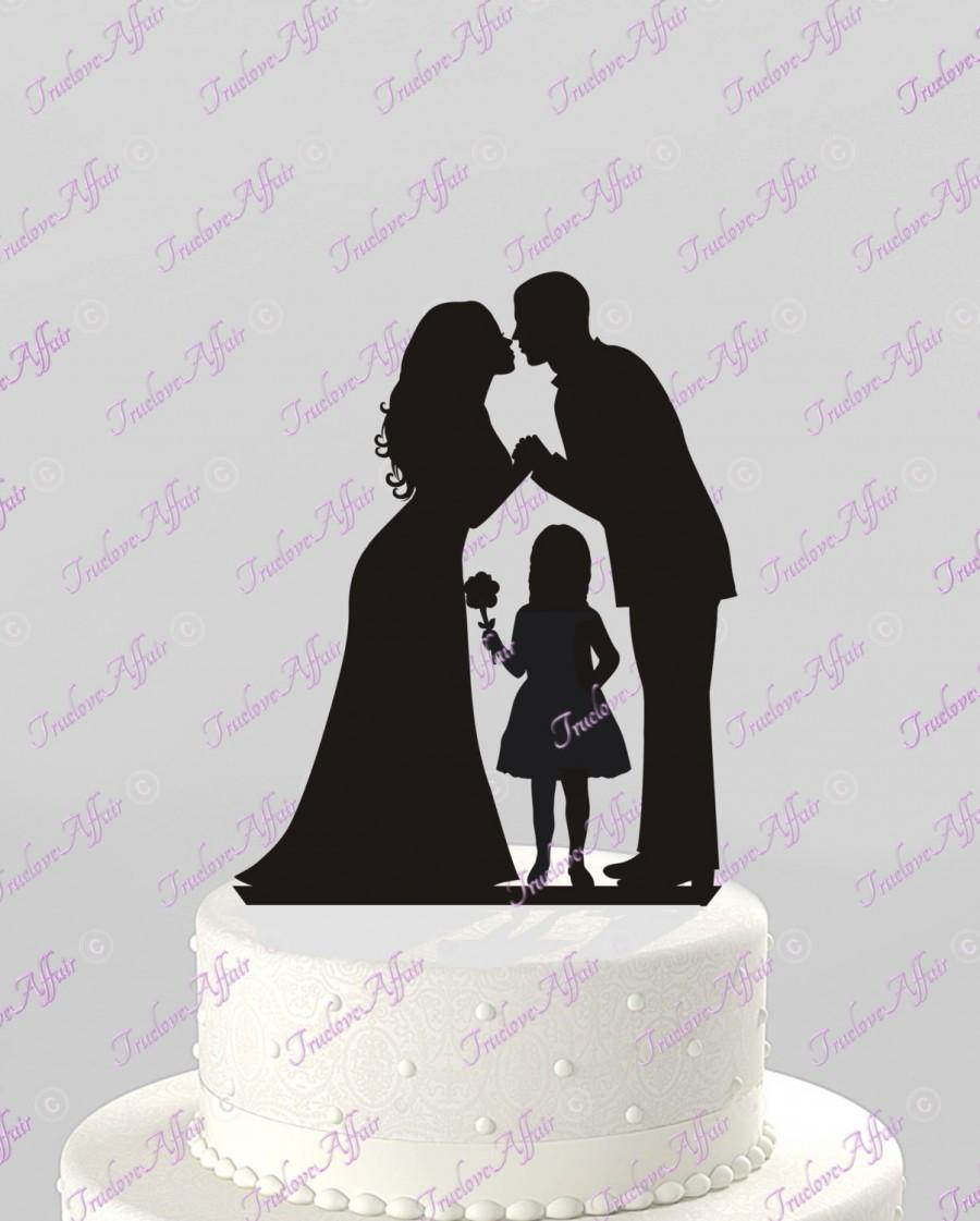 Mariage - Ships Next Day! Wedding Cake Topper Silhouette Groom and Bride with a Flower Girl -  Family in BLACK Acrylic Cake Topper [CT62og]