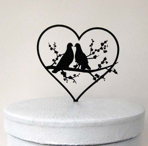 Hochzeit - Wedding Cake Topper - Two Doves in Love wedding cake topper