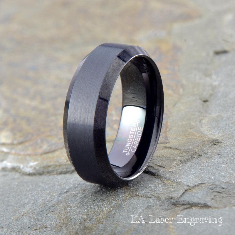 wedding black brushed tungsten carbide wedding band mens brushed