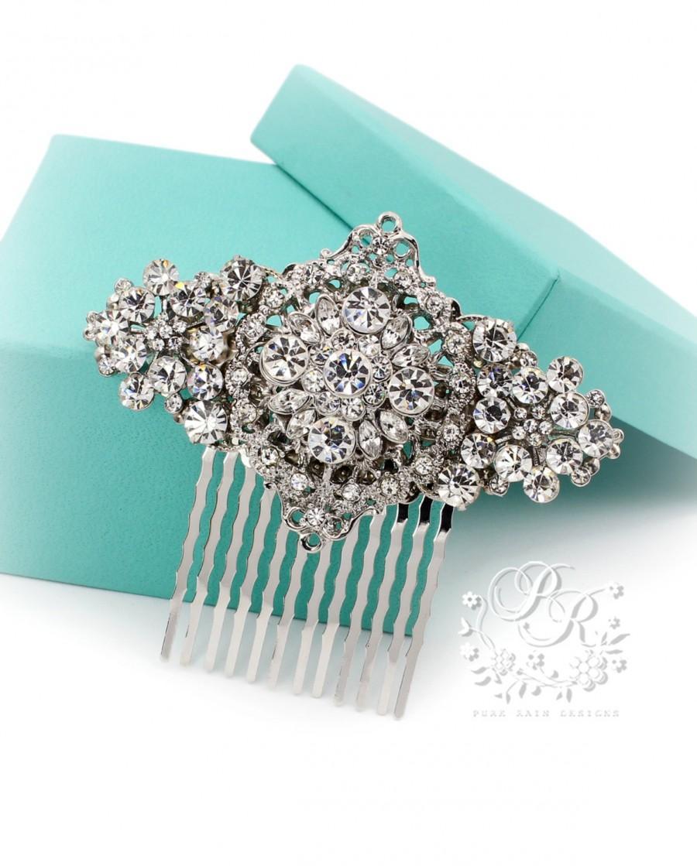 Свадьба - Wedding Hair Comb Rhinestone Hair Comb Bridal Jewelry Hair Accessory Wedding Jewelry Wedding Accessory Hair Piece rhombus