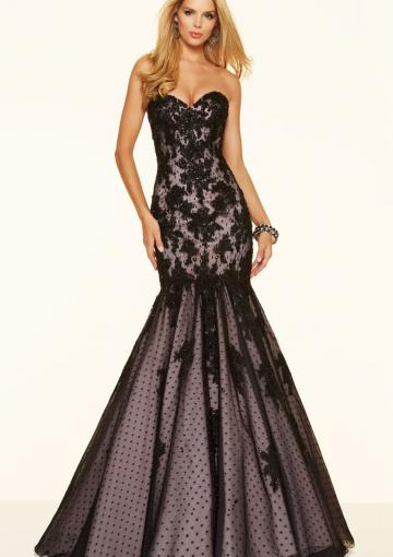 Mariage - Appliques Black Tulle Sleeveless Floor Length Mermaid Lace Up Sweetheart