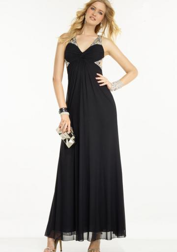 Hochzeit - Ruched A-line Sleeveless Black V-neck Ankle Length Crystals Chiffon