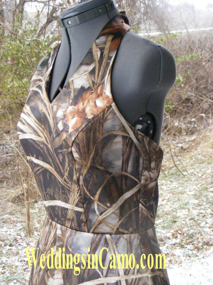 Wedding - SHORT CAMO Bridesmaid with Halter top GREAT for plus sizes Available in fourteen colors