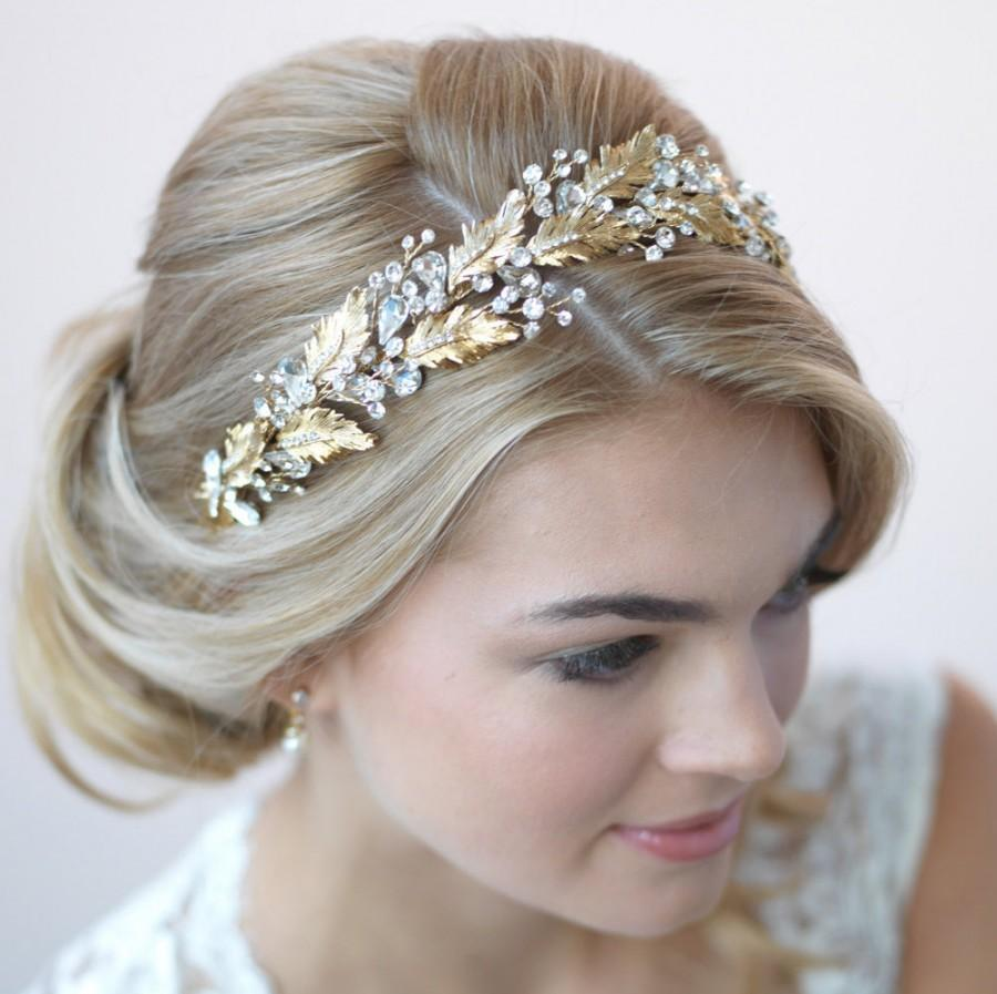Flower Wedding Headpieces: Gorgeous Botanical Leaf & Crystal Gold Bridal Headband