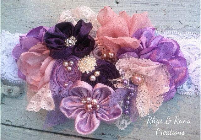 Свадьба - Lavender Bridal Sash, Orchid, Lilac, Eggplant Purple, Wedding Sash, Bridal Belt, Fabric Flower Sash, Dusty Rose Pink Bridal Sash, Lace Sash
