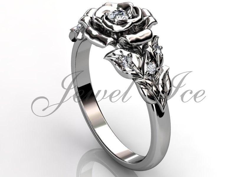زفاف - Flower Engagement Ring - 14k white gold diamond unusual unique flower engagement ring, wedding ring, anniversary ring ER-1059-1