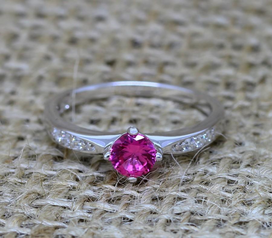 زفاف - Genuine pink sapphire solitaire ring - Available in white gold or sterling silver - engagement ring