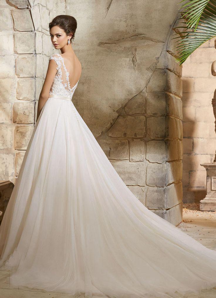 Wedding - Appliqued Lace Tulle Princess Wedding Dress