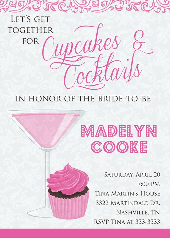 Cupcakes And Cocktails Invitation Cupcakes And Cocktails Bridal – Bridal Shower and Bachelorette Party Invitations