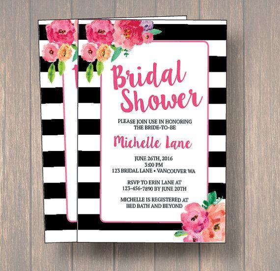 a966e5a0881ef Black & White Bridal Shower Invitation, Watercolor Flowers Wedding ...
