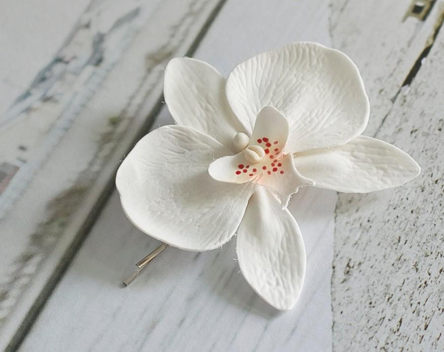 White orchid clip flower hair pin flower girl hair clip white white orchid clip flower hair pin flower girl hair clip white hair clip wedding hair clip bridal flower headpiece hair jewelry mightylinksfo Image collections