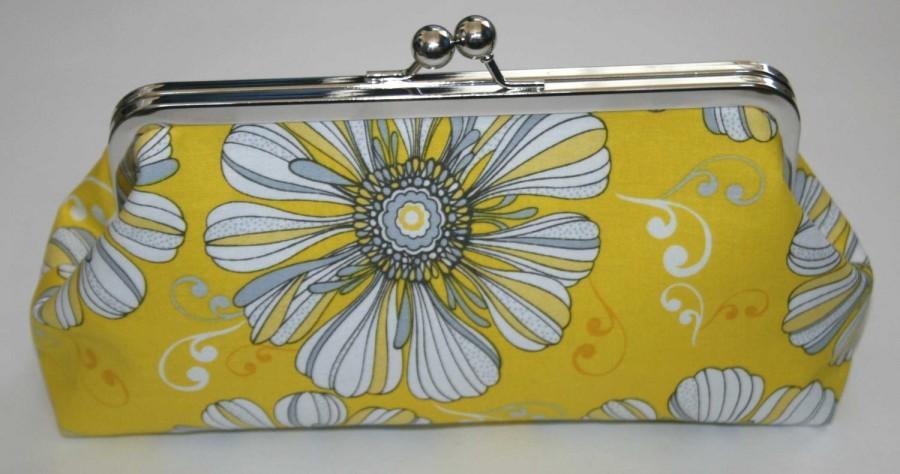 زفاف - Yellow Grey Floral Clutch Purse Bridesmaid Clutch  Big Daisy Clutch Purse Bridesmaid Gift