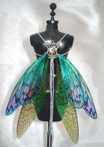 Wedding - OOAK Fairy Pixie Bear BJD Iridescent Artist Doll Harness Wings - NEW