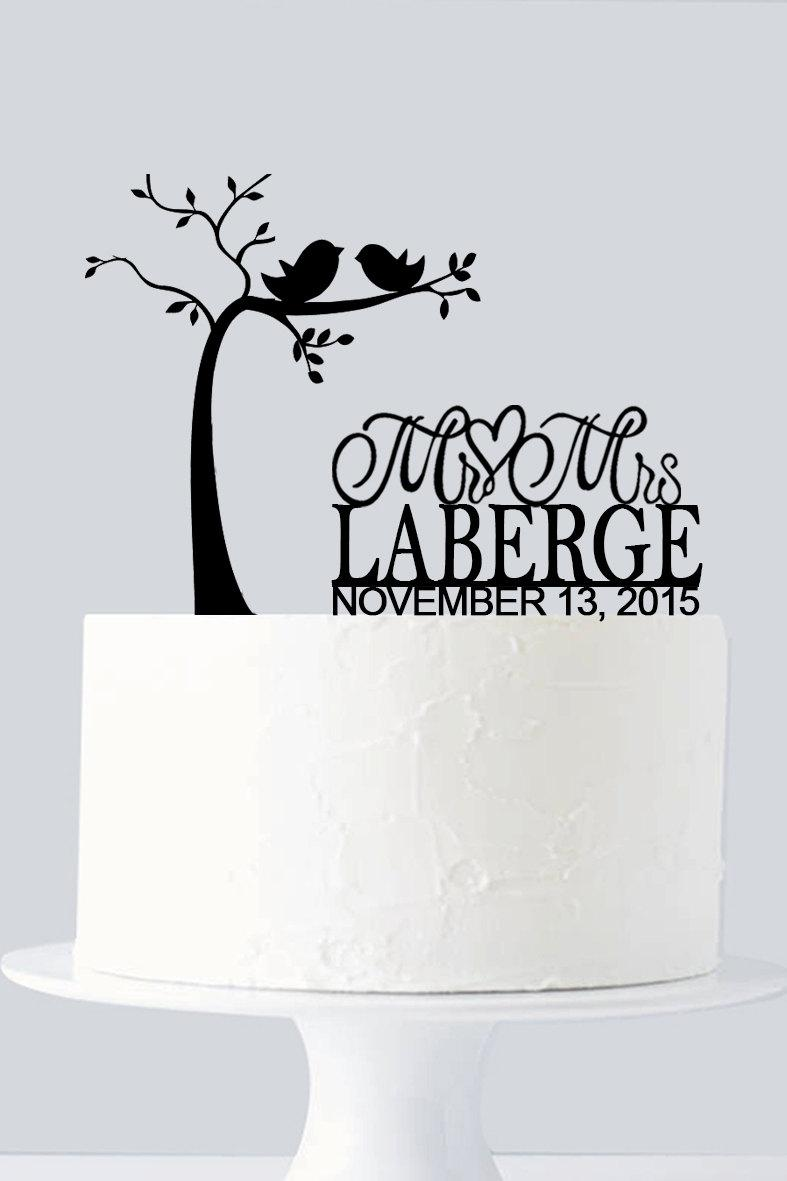 love tree cake topper custom last name and date mr and mrs love