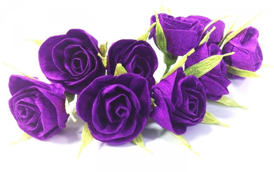 Hochzeit - 10 purple crepe paper roses with a toothpick Cake Topper deep purple baby shower idea WEDDING CENTERPIECE DIY Wedding boutonniere corsage