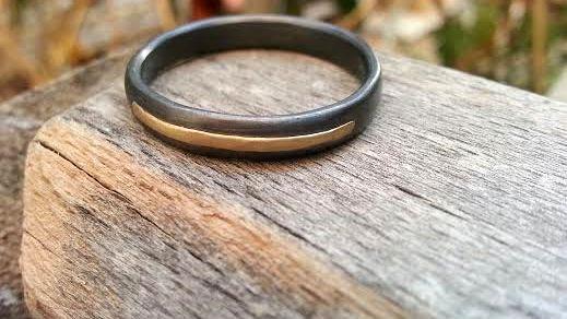 Wedding - Oxidized Silver Wedding Band & Gold Wedding Band Men's Wedding Ring Unique Wedding Ring Promise Ring Mixed Metals Handmade Unusual